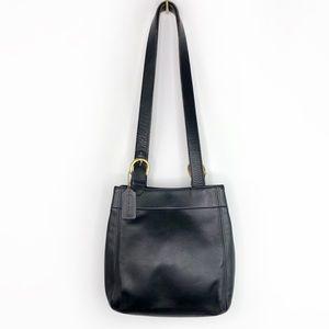 Coach Vintage Black Leather Shoulder Bag Purse 415